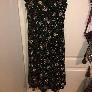 forever 21 black flowery midi dress